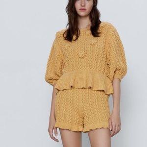 Zara Mustard Textured Pom Pom Sweater Jumper Set